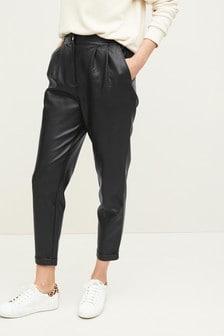 Black PU Peg Leg Trousers
