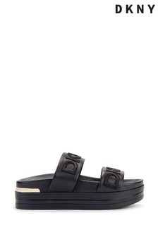 DKNY Black Tee Double Logo Band Leather Sandals