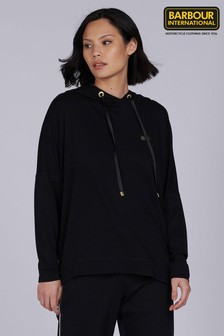 Barbour® International Black Supersoft Relaxed Fit Hairpin Hoody