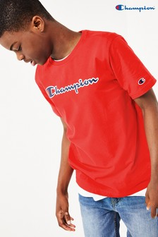 Champion Kids Large Script Logo Crew Neck T-Shirt