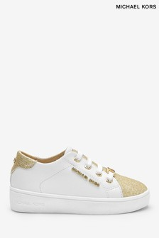 Michael Kors White With Gold Glitter Toe Trainers