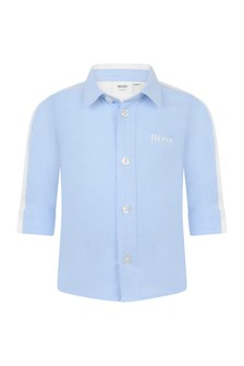 Baby Boys Blue/White Cotton Oxford Shirt