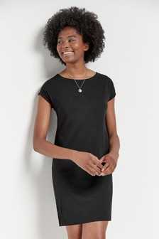 Black Relaxed Capped Sleeve Tunic Dress