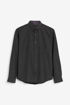 Black Regular Fit Dot Jacquard Shirt