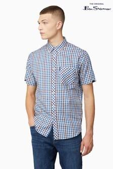 Ben Sherman Persian Blue Twill Gingham Overcheck Shirt