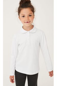 White 2 Pack Cotton Stretch Long Sleeve Pretty Jersey Tops (3-14yrs)