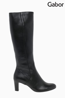 Gabor Maybe Black Leather Knee Length Fashion Boots