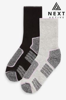 Black/Grey Walking Ankle Socks 2 Pack