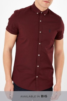 9eeeb3e625 Burgundy Slim Fit Short Sleeve Stretch Oxford Shirt ...