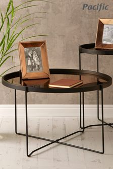 Pacific Black And Copper Wood And Iron Round Coffee Table