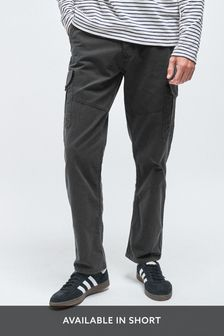 Charcoal Straight Fit Premium Laundered Cargo Trousers