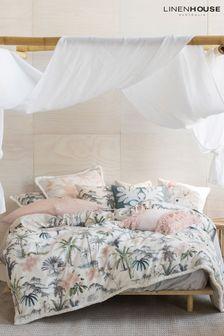Linen House White Luana Palm Print Duvet Cover and Pillowcase Set