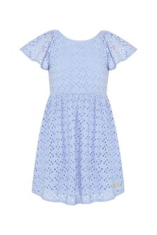 Carrement Beau Girls Blue Cotton Dress