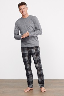 Charcoal Check Long Sleeve Cosy Motionflex Pyjama Set
