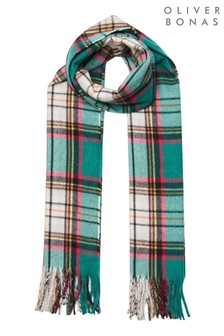 Oliver Bonas Green Check And Neon Prink Knitted Scarf