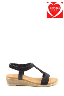 Heavenly Feet Marisol Ladies Black Low Wedge Sandals
