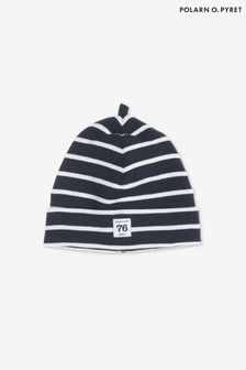 Polarn O. Pyret Blue Organic Cotton Striped Hat