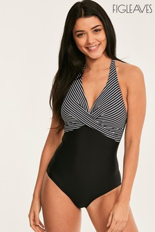 Figleaves Black Tailor Twist Tummy Control Soft Swimsuit