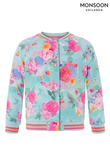 Monsoon Blue Floral Print Bomber Jacket
