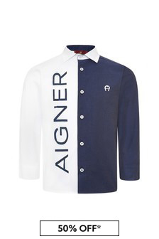 Aigner Boys Blue Cotton Shirt