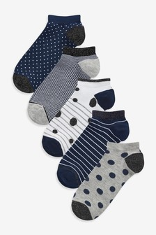 Navy Sparkle Spot and Stripe Trainer Socks Five Pack