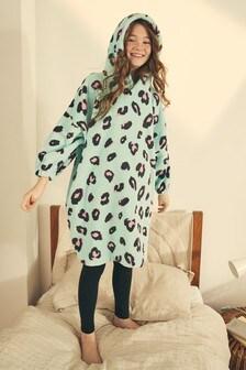 Turquoise Animal Print Oversized Fit Fleece Poncho (3-16yrs)