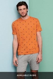 Orange Palm Print Short Pyjama Set