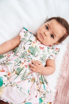 Pink Floral Dress With Matching Knickers (0mths-2yrs)