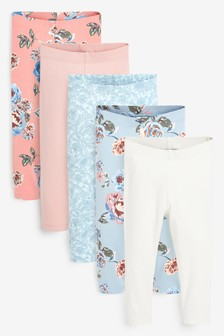 Pink/Blue Floral 5 Pack Leggings (3mths-7yrs)
