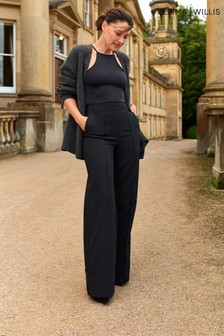 Black Emma Willis High Waist Wide Leg Trousers