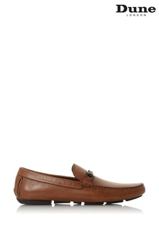 Dune London Beacons Tan Leather Woven Trim Driver Moccasins