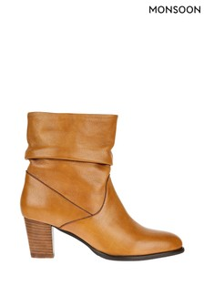 Monsoon Tan Slouch Leather Ankle Boots