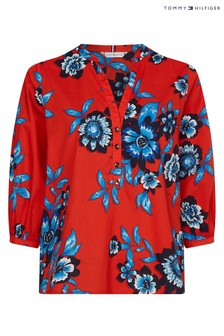 Tommy Hilfiger Red Voile Floral Blouse