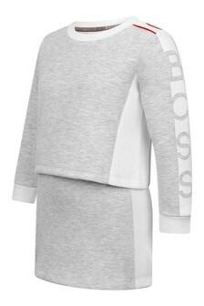 Girls Grey Jersey 2-In-1 Dress