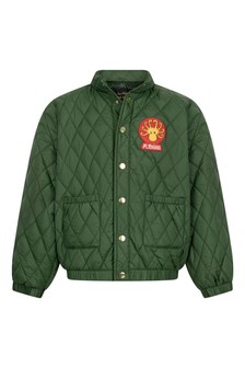 Girls Dark Green Diamond Quilted Jacket