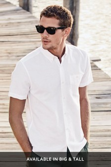 White Regular Fit Linen Blend Short Sleeve Shirt