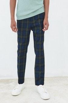 Full Length Skinny Fit Tartan Formal Trousers (3-16yrs)