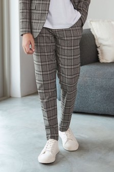 Grey/Black Skinny Fit Check Suit Trousers (12mths-16yrs)