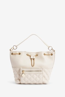 Cream Quilted Bucket Bag
