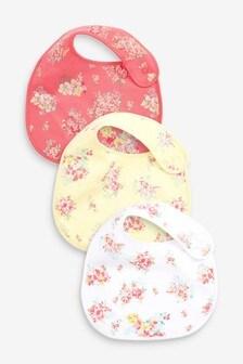 Pink 3 Pack Ditsy Floral Regular Bibs