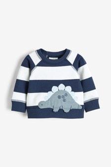 Blue Stripe Dinosaur Appliqué Sweater (0mths-3yrs)
