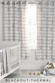 White Baby Animals Striped Eyelet Blackout Curtains