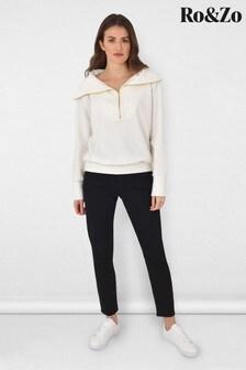 Ro&Zo White Rib Zip Neck Sweater
