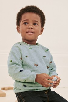 Mint Embroidered Animal Jumper (3mths-7yrs)