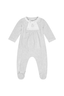 Boys Grey Velour Babygrow