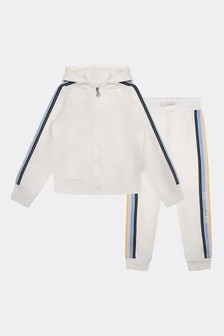 Girls Ivory Cotton Tracksuit