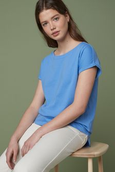 Pale Blue Cap Sleeve T-Shirt