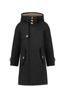 Boys Black Cotton Trench Coat