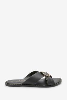 Black Regular/Wide Fit Forever Comfort® Cross Over Mule Sandals