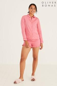 Oliver Bonas Star Jacquard Pink Pyjama Set